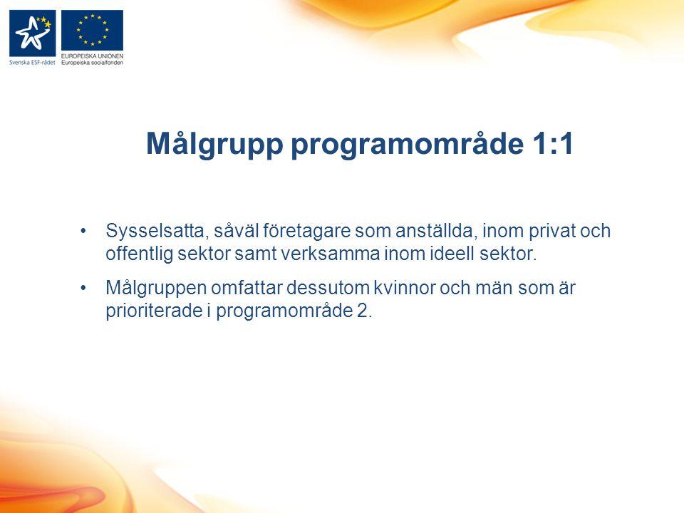 Målgrupp programområde 1:1 Sysselsatta, såväl företagare som anställda, inom privat och offentlig sektor samt verksamma inom ideell sektor. Målgruppen