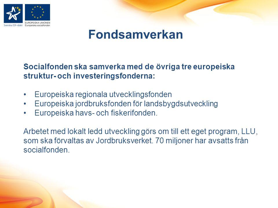 Socialfonden ska samverka med de övriga tre europeiska struktur- och investeringsfonderna: Europeiska regionala utvecklingsfonden Europeiska jordbruks