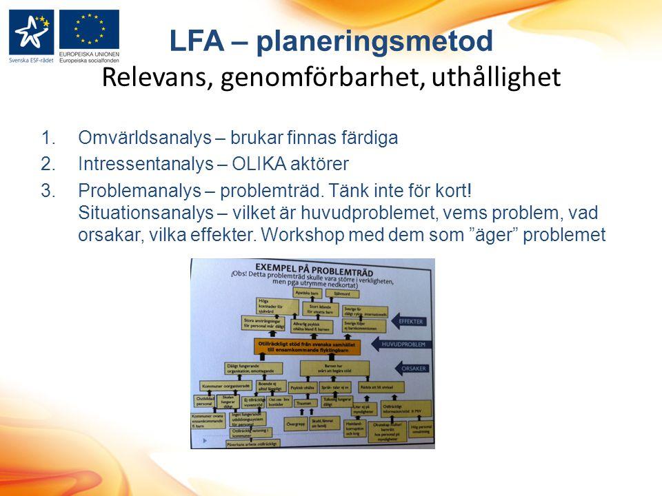 LFA – planeringsmetod Relevans, genomförbarhet, uthållighet 1.Omvärldsanalys – brukar finnas färdiga 2.Intressentanalys – OLIKA aktörer 3.Problemanaly