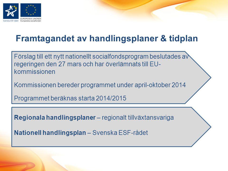 Framtagandet av handlingsplaner & tidplan Förslag till ett nytt nationellt socialfondsprogram beslutades av regeringen den 27 mars och har överlämnats