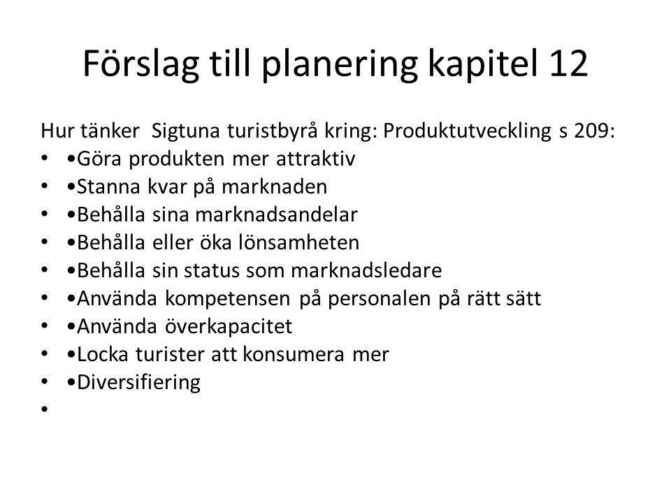 Förslag till planering kapitel 12 Hur tänker Sigtuna turistbyrå kring: Produktutveckling s 209: Göra produkten mer attraktiv Stanna kvar på marknaden