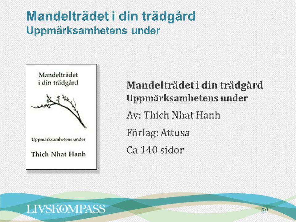 Mandelträdet i din trädgård Uppmärksamhetens under Mandelträdet i din trädgård Uppmärksamhetens under Av: Thich Nhat Hanh Förlag: Attusa Ca 140 sidor