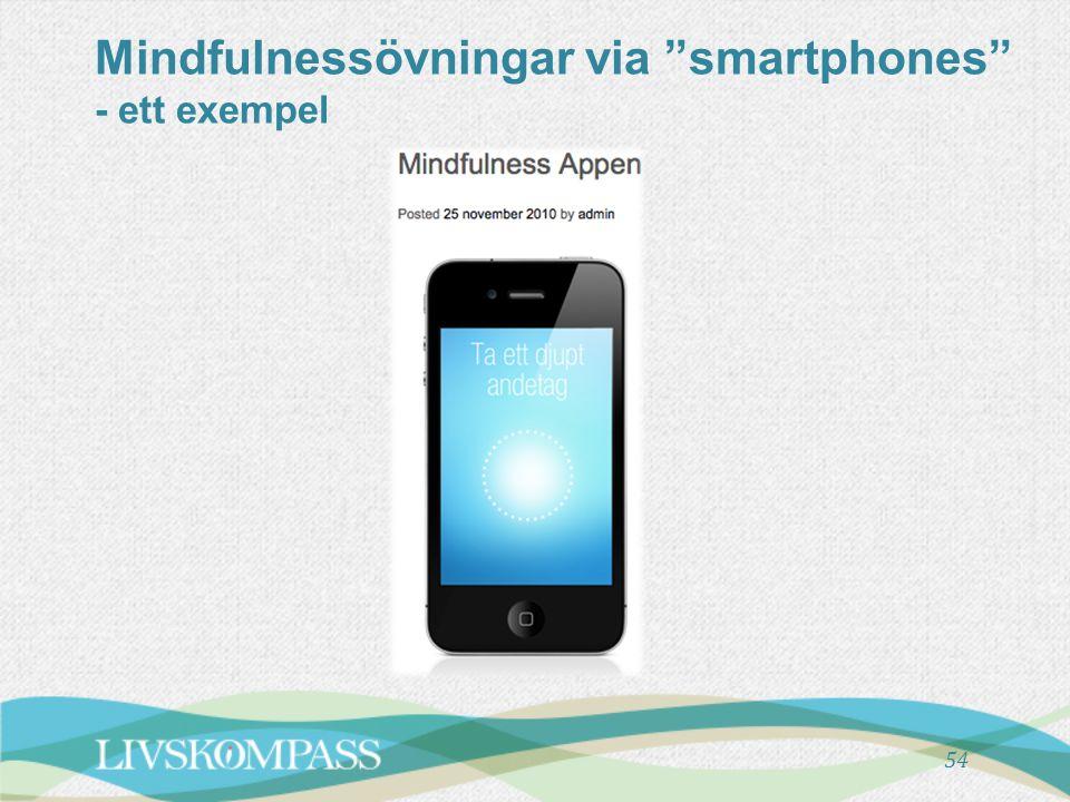 "Mindfulnessövningar via ""smartphones"" - ett exempel 54"