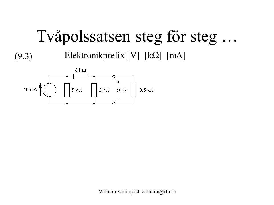 Tvåpolssatsen steg för steg … Elektronikprefix [V] [k  ] [mA] (9.3)