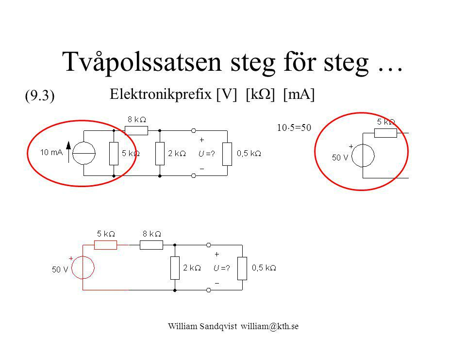 William Sandqvist william@kth.se Tvåpolssatsen steg för steg … 10  5=50 Elektronikprefix [V] [k  ] [mA] (9.3)