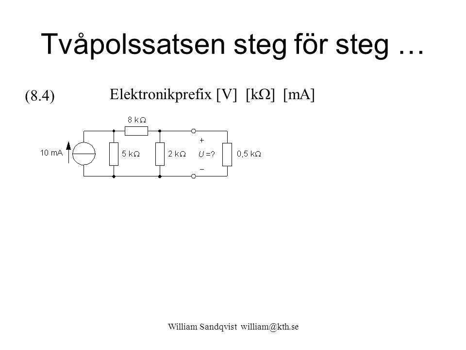 Tvåpolssatsen steg för steg … Elektronikprefix [V] [k  ] [mA] (8.4)