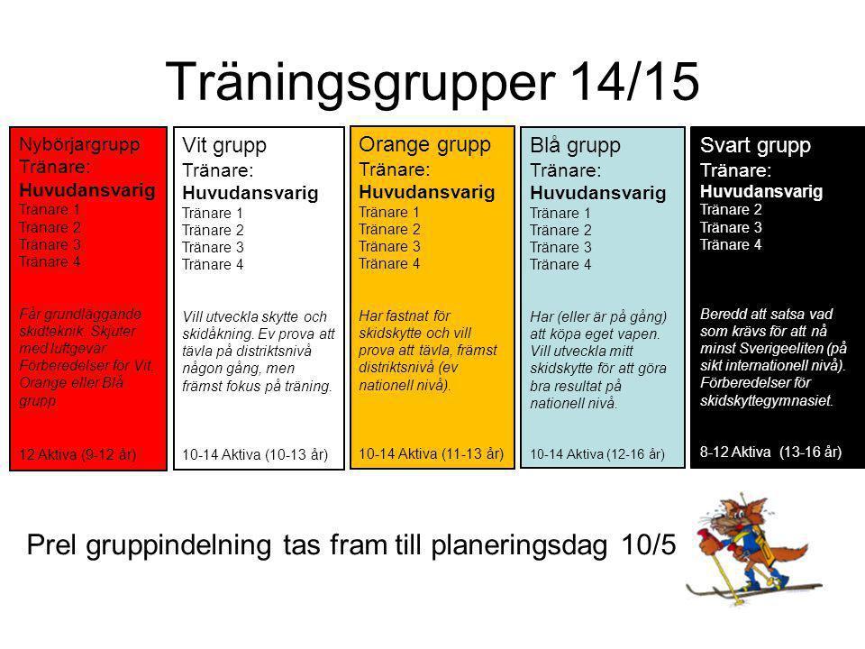 Träningsgrupper 14/15 Svart grupp Tränare: Huvudansvarig Tränare 2 Tränare 3 Tränare 4 Beredd att satsa vad som krävs för att nå minst Sverigeeliten (på sikt internationell nivå).
