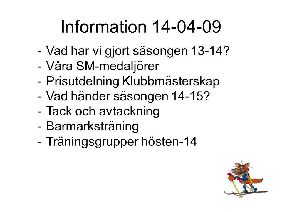 Information 14-04-09 -Vad har vi gjort säsongen 13-14.