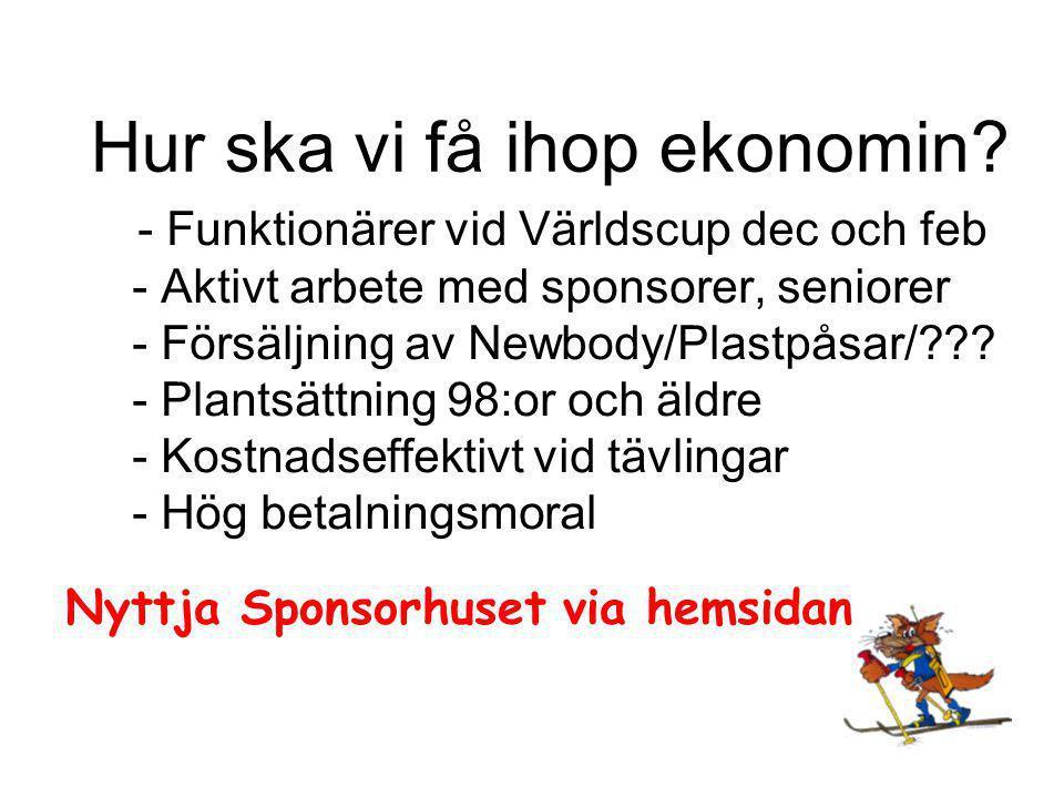 - Funktionärer vid Världscup dec och feb - Aktivt arbete med sponsorer, seniorer - Försäljning av Newbody/Plastpåsar/ .