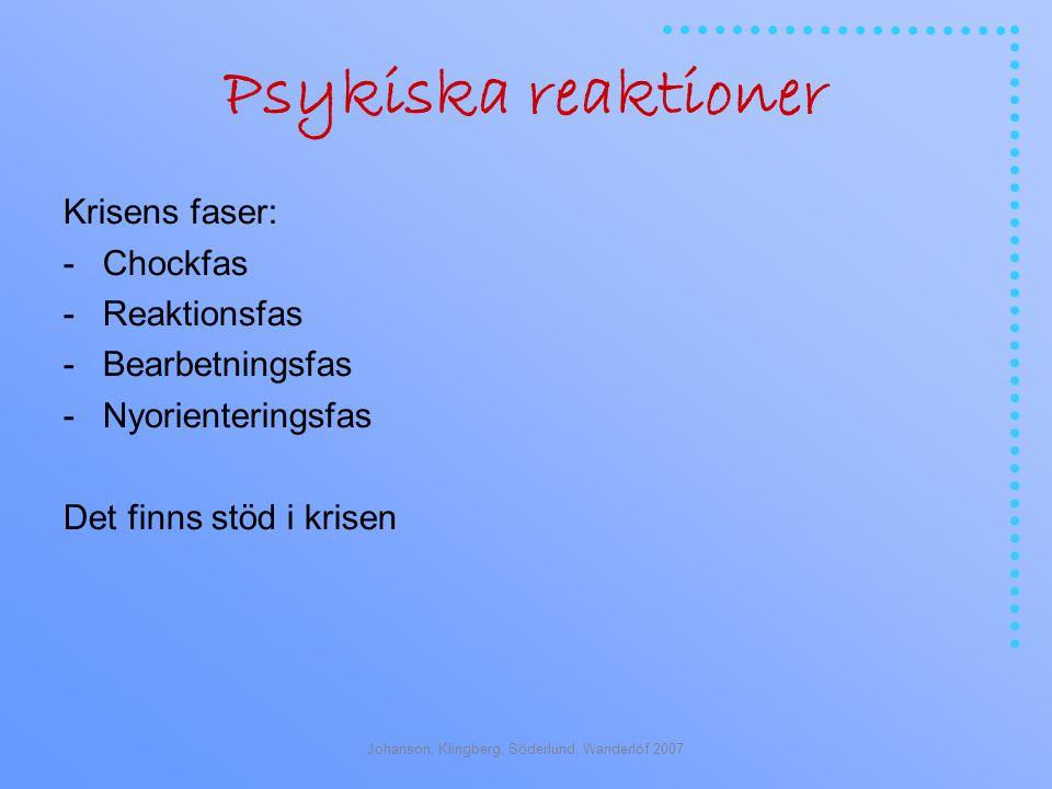 Johanson, Klingberg, Söderlund, Wanderlöf 2007 Psykiska reaktioner Krisens faser: -Chockfas -Reaktionsfas -Bearbetningsfas -Nyorienteringsfas Det finns stöd i krisen