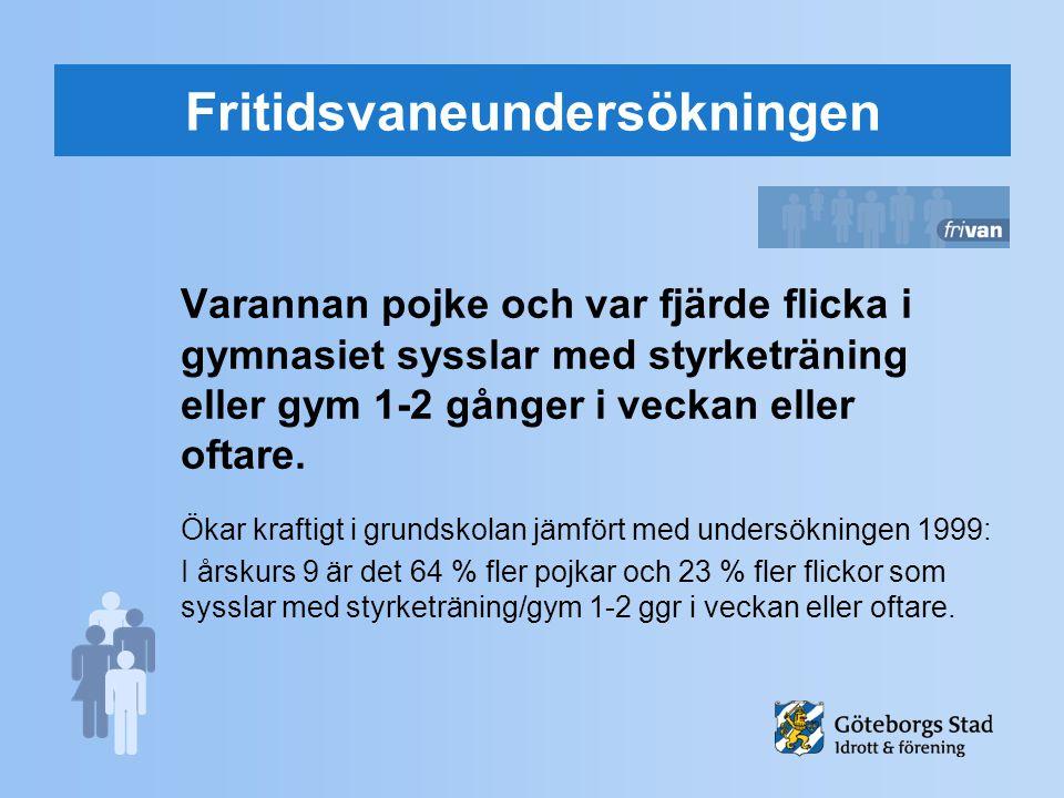 Fritidsvaneundersökningen Varannan pojke och var fjärde flicka i gymnasiet sysslar med styrketräning eller gym 1-2 gånger i veckan eller oftare. Ökar