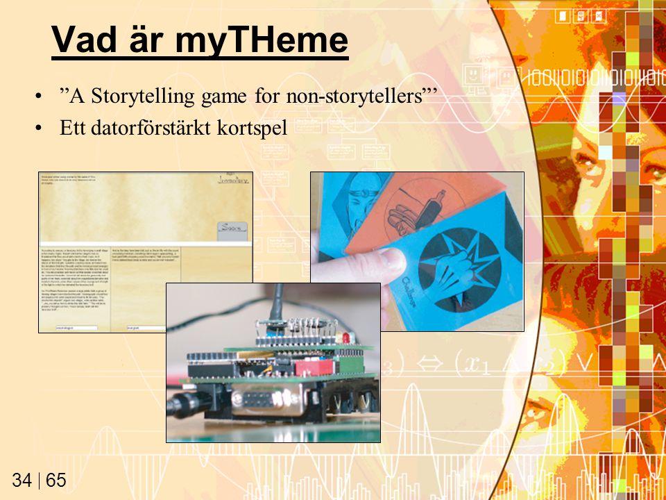 65 34 Vad är myTHeme A Storytelling game for non-storytellers ' Ett datorförstärkt kortspel