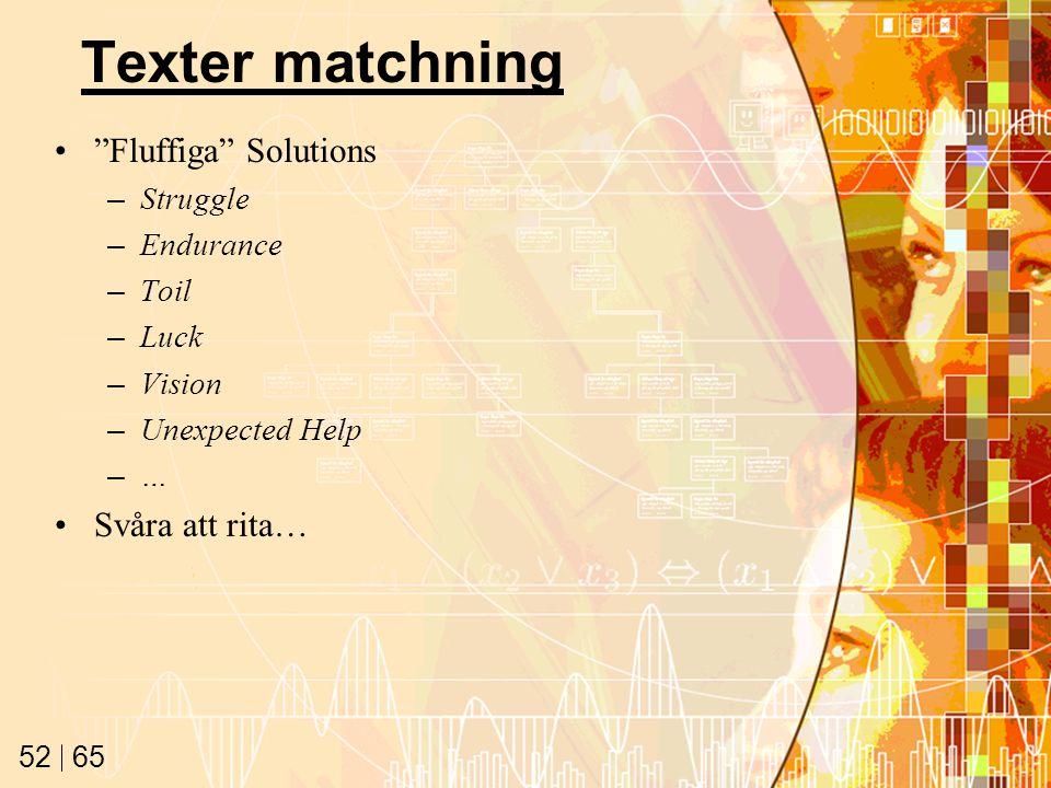 65 52 Texter matchning Fluffiga Solutions –Struggle –Endurance –Toil –Luck –Vision –Unexpected Help –… Svåra att rita…