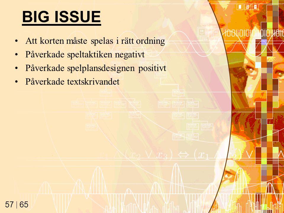 65 57 BIG ISSUE Att korten måste spelas i rätt ordning Påverkade speltaktiken negativt Påverkade spelplansdesignen positivt Påverkade textskrivandet