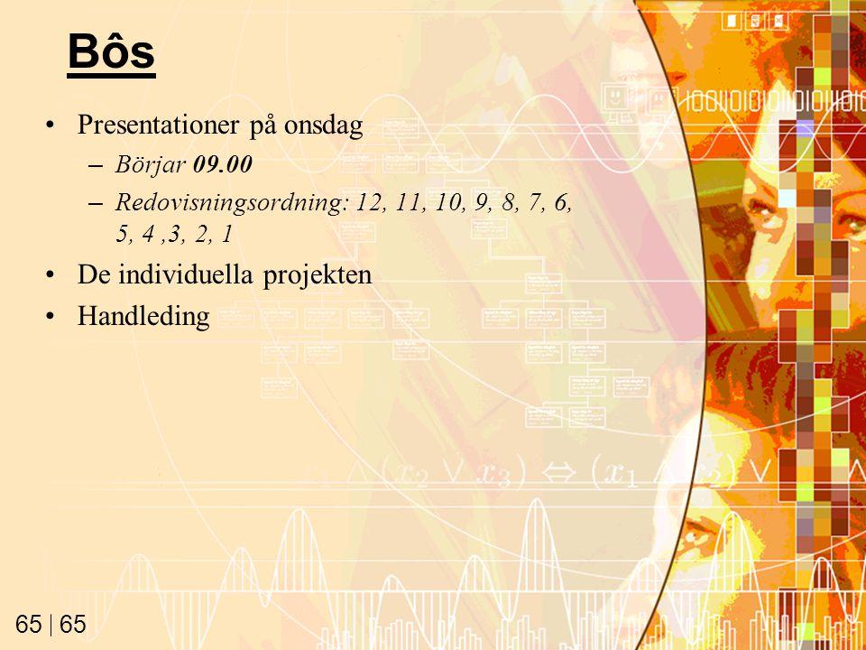 65 Bôs Presentationer på onsdag –Börjar 09.00 –Redovisningsordning: 12, 11, 10, 9, 8, 7, 6, 5, 4,3, 2, 1 De individuella projekten Handleding