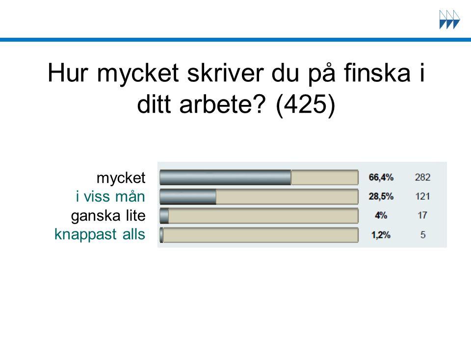 Hur mycket skriver du på finska i ditt arbete? (425) mycket i viss mån ganska lite knappast alls
