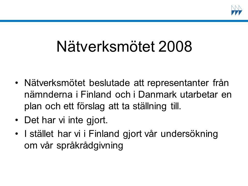 Nätverksmötet 2008 Nätverksmötet beslutade att representanter från nämnderna i Finland och i Danmark utarbetar en plan och ett förslag att ta ställnin