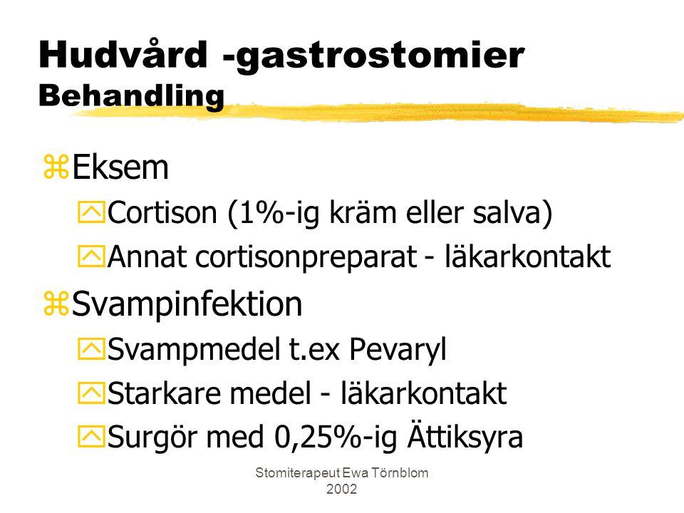 Stomiterapeut Ewa Törnblom 2002 Hudvård -gastrostomier Behandling zEksem yCortison (1%-ig kräm eller salva) yAnnat cortisonpreparat - läkarkontakt zSv