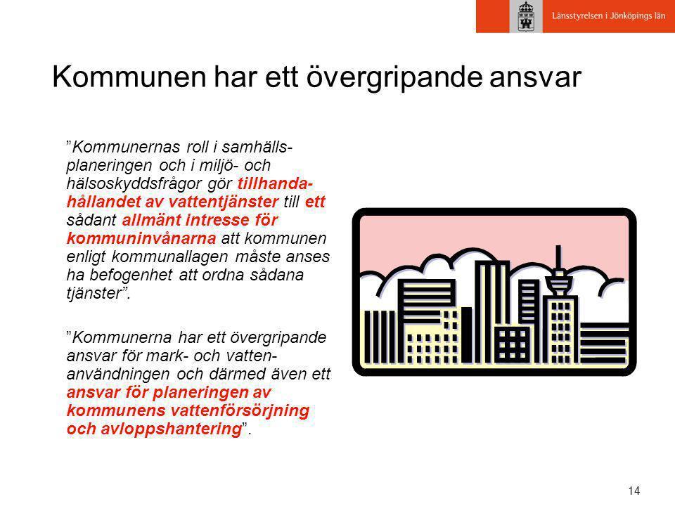 """14 Kommunen har ett övergripande ansvar """"Kommunernas roll i samhälls- planeringen och i miljö- och hälsoskyddsfrågor gör tillhanda- hållandet av vatte"""