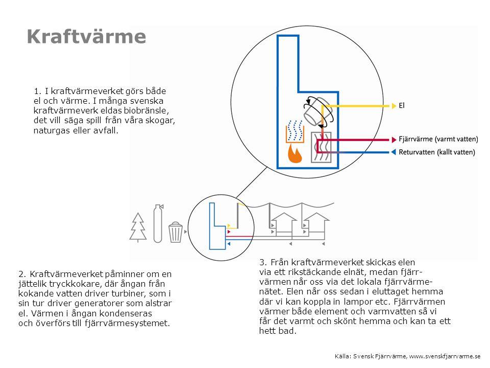 2. Kraftvärmeverket påminner om en jättelik tryckkokare, där ångan från kokande vatten driver turbiner, som i sin tur driver generatorer som alstrar e