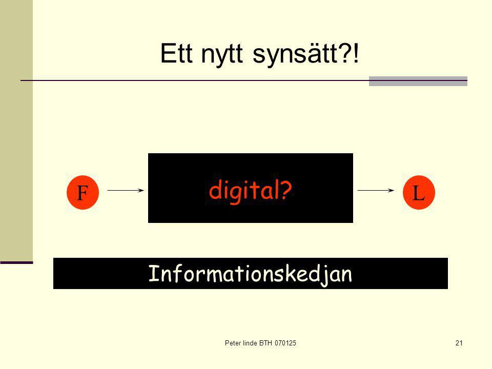 Peter linde BTH 07012521 FL PUBPUB SUBSUB LIBLIB Ett nytt synsätt ! digital Informationskedjan