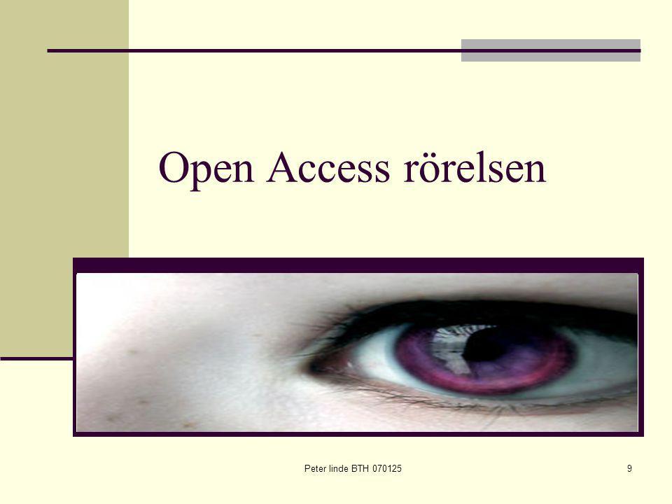 Peter linde BTH 0701259 Open Access rörelsen