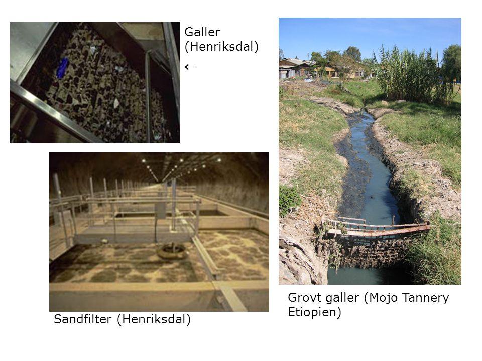 Grovt galler (Mojo Tannery Etiopien) Galler (Henriksdal)  Sandfilter (Henriksdal)