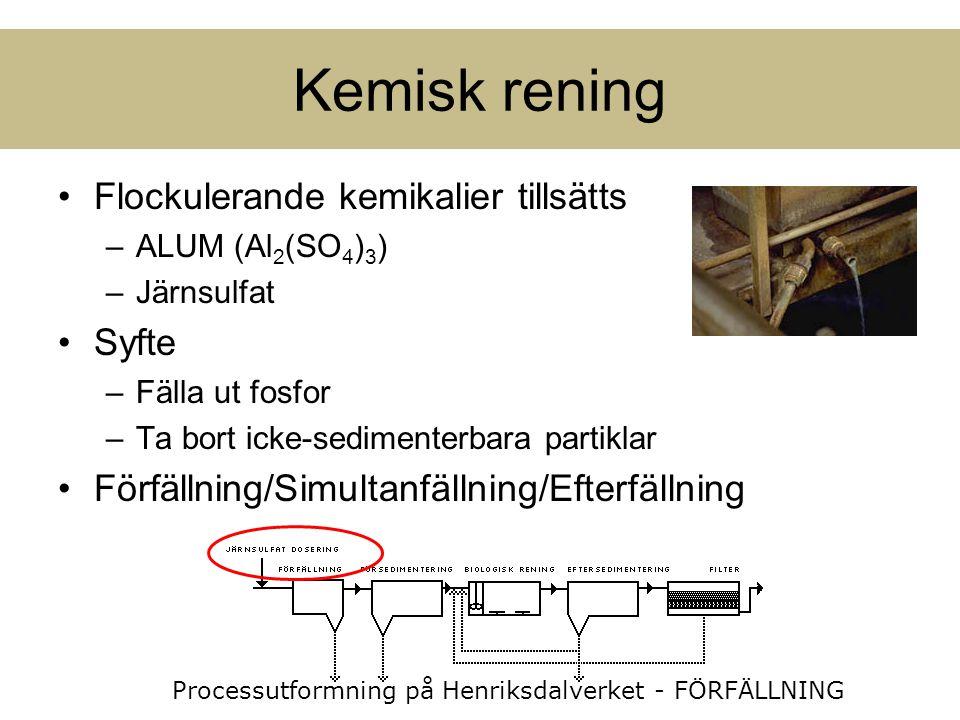 Flockulerande kemikalier tillsätts –ALUM (Al 2 (SO 4 ) 3 ) –Järnsulfat Syfte –Fälla ut fosfor –Ta bort icke-sedimenterbara partiklar Förfällning/Simul