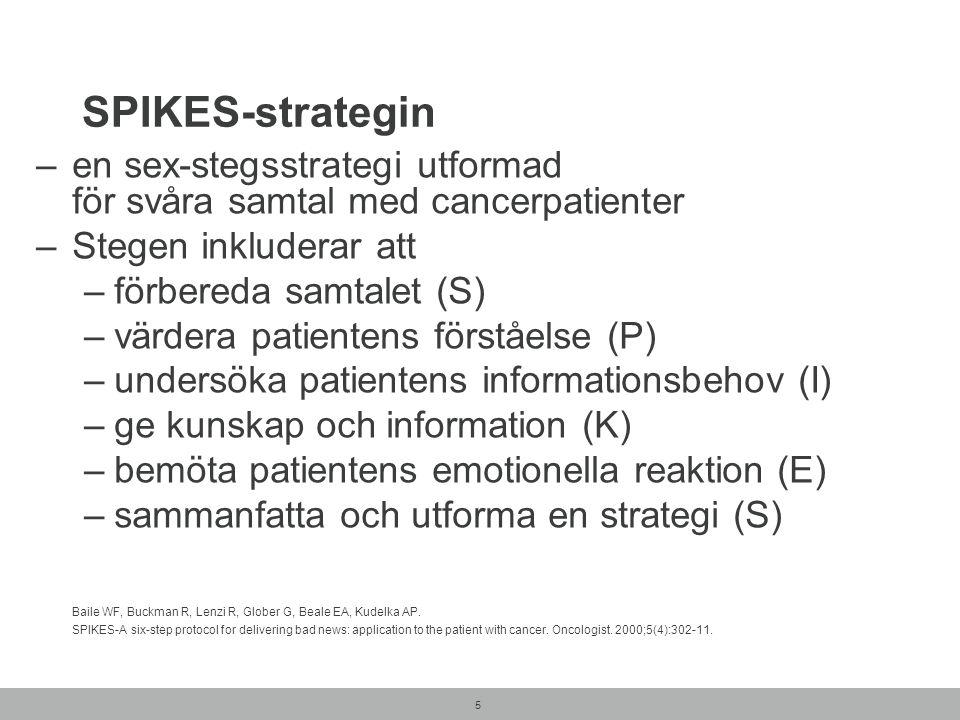5 SPIKES-strategin –en sex-stegsstrategi utformad för svåra samtal med cancerpatienter –Stegen inkluderar att –förbereda samtalet (S) –värdera patientens förståelse (P) –undersöka patientens informationsbehov (I) –ge kunskap och information (K) –bemöta patientens emotionella reaktion (E) –sammanfatta och utforma en strategi (S) Baile WF, Buckman R, Lenzi R, Glober G, Beale EA, Kudelka AP.
