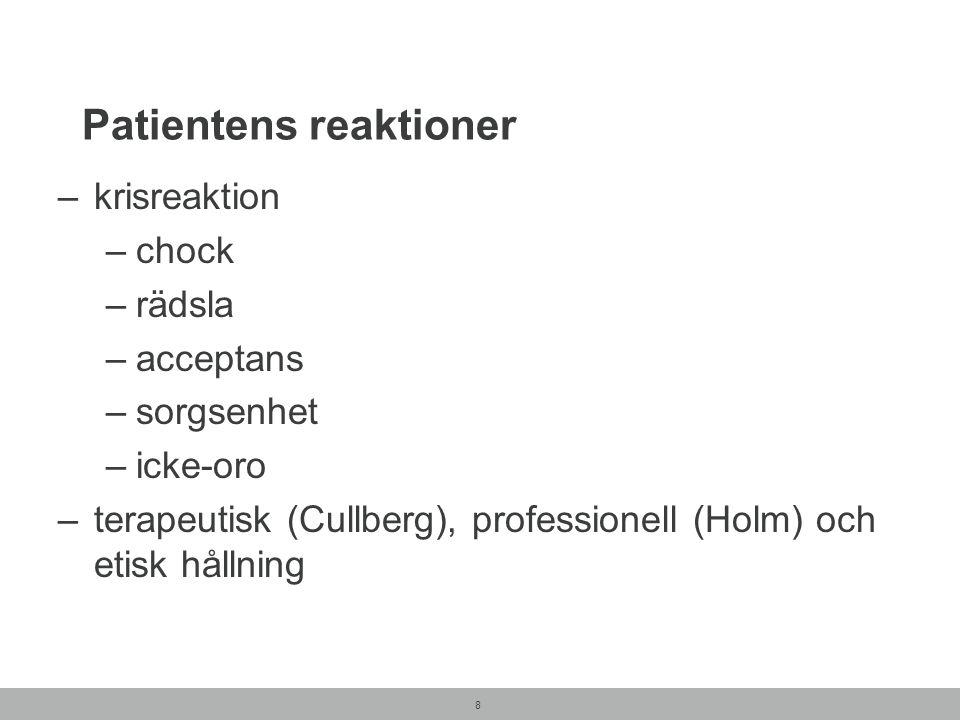 8 Patientens reaktioner –krisreaktion –chock –rädsla –acceptans –sorgsenhet –icke-oro –terapeutisk (Cullberg), professionell (Holm) och etisk hållning