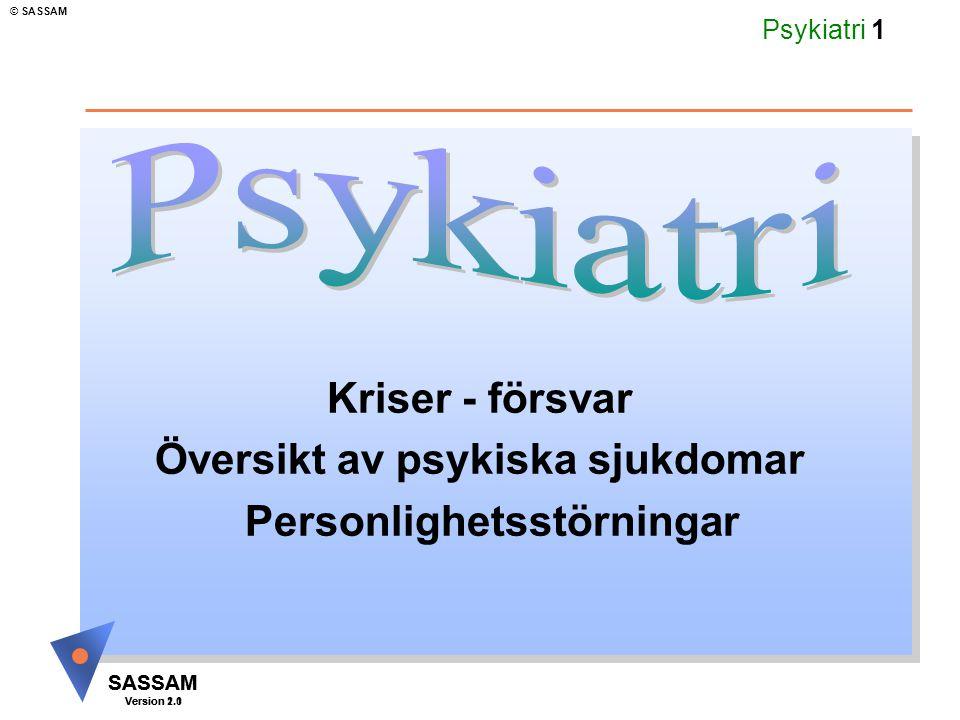 SASSAM Version 1.1 © SASSAM SASSAM Version 2.0 Psykiatri 62 Posttraumatiskt stressyndrom Posttraumatiskt stressyndrom - kan uppkomma efter extremt svåra upplevelser katastrofer, dödsolyckor, tortyr och utmärks bl.a.