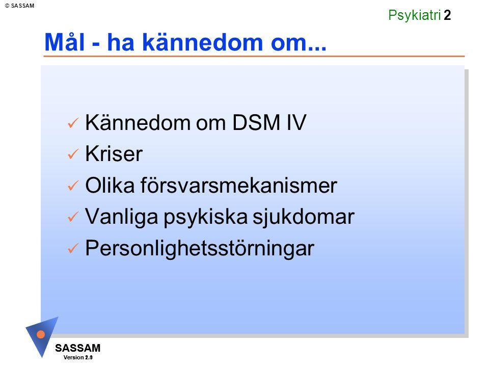 SASSAM Version 1.1 © SASSAM SASSAM Version 2.0 Psykiatri 33 Länkkarta psykiatri Återvänd till Fördjupning Personlighetsstörningar Kriser Psykiska försvar Psykiska sjukdomar Personlighetsstörningar Livshändelser Försvarsmekanismer Ångest Funktionsskattnings- skalor Psykiska sjukdomar