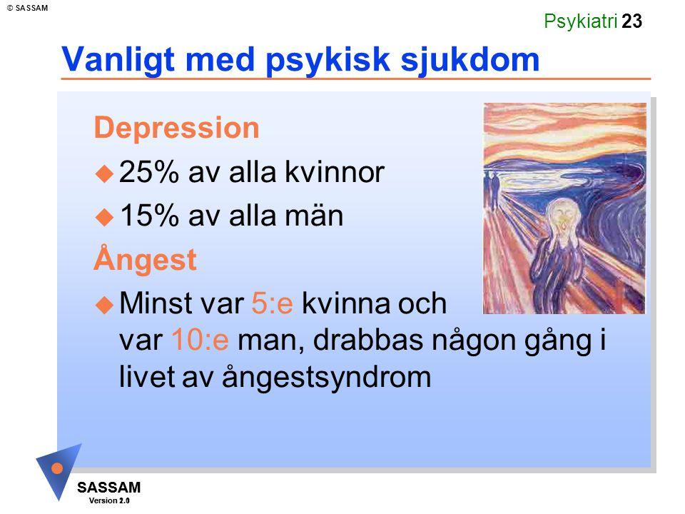 SASSAM Version 1.1 © SASSAM SASSAM Version 2.0 Psykiatri 23 Vanligt med psykisk sjukdom Depression u 25% av alla kvinnor u 15% av alla män Ångest u Mi