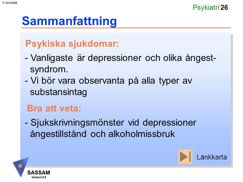 SASSAM Version 1.1 © SASSAM SASSAM Version 2.0 Psykiatri 26 Sammanfattning - Vanligaste är depressioner och olika ångest- syndrom. - Vi bör vara obser