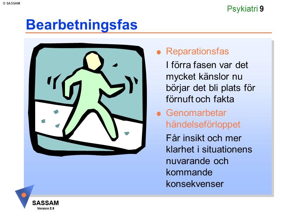 SASSAM Version 1.1 © SASSAM SASSAM Version 2.0 Psykiatri 60 Agorafobi och specifik fobi Agorafobi - aktivt undvikande av platser som tenderar att utlösa panikattacker.