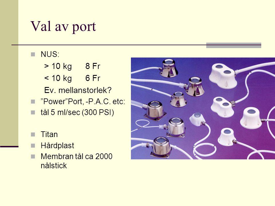 "Val av port NUS: > 10 kg8 Fr < 10 kg6 Fr Ev. mellanstorlek? ""Power""Port, -P.A.C. etc: tål 5 ml/sec (300 PSI) Titan Hårdplast Membran tål ca 2000 nålst"