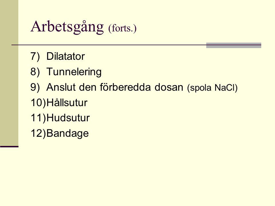 Arbetsgång (forts.) 7)Dilatator 8)Tunnelering 9)Anslut den förberedda dosan (spola NaCl) 10)Hållsutur 11)Hudsutur 12)Bandage