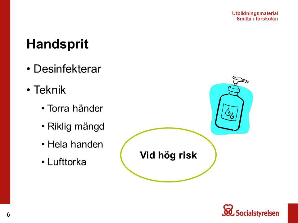 6 Desinfekterar Teknik Torra händer Riklig mängd Hela handen Lufttorka Handsprit Vid hög risk Utbildningsmaterial Smitta i förskolan