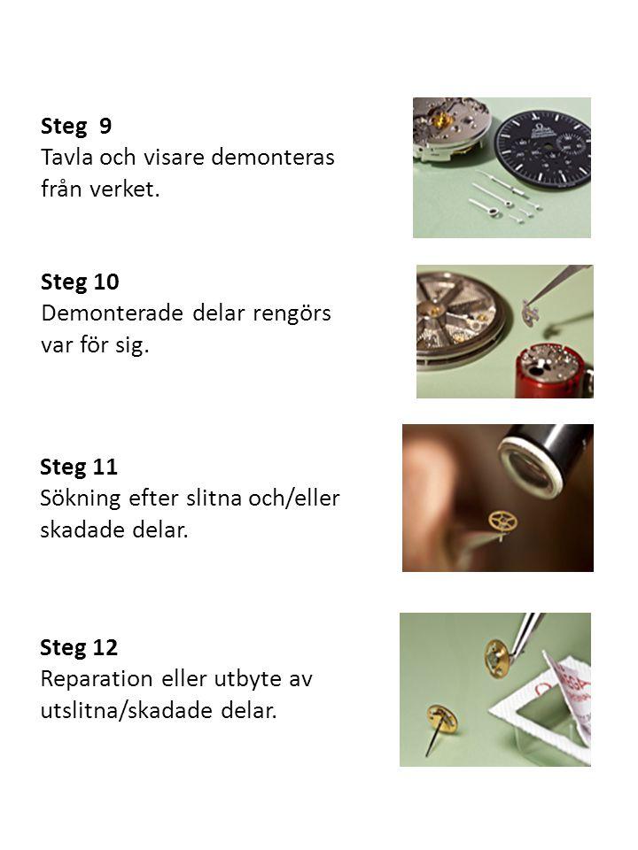 Steg 9 Tavla och visare demonteras från verket. Steg 10 Demonterade delar rengörs var för sig. Steg 11 Sökning efter slitna och/eller skadade delar. S