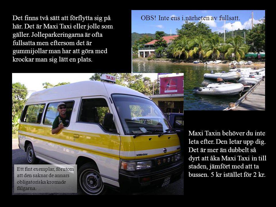 Det finns två sätt att förflytta sig på här. Det är Maxi Taxi eller jolle som gäller.