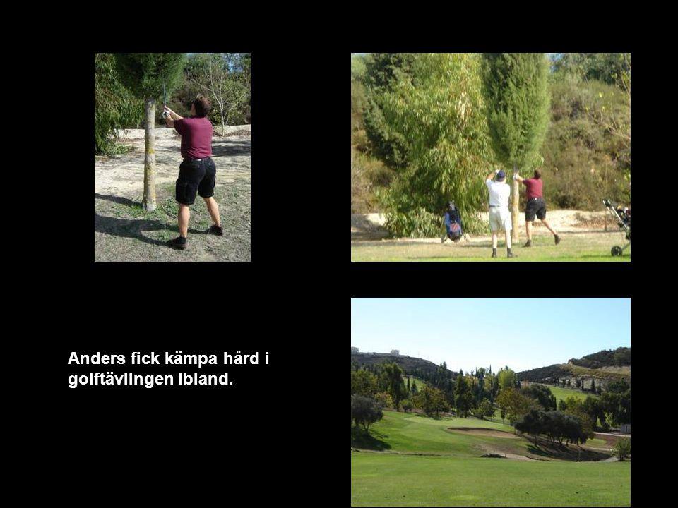 Anders fick kämpa hård i golftävlingen ibland.