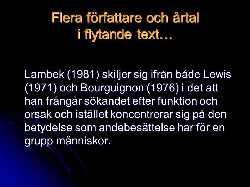 Flera författare och årtal i flytande text… Lambek (1981) skiljer sig ifrån både Lewis (1971) och Bourguignon (1976) i det att han frångår sökandet efter funktion och orsak och istället koncentrerar sig på den betydelse som andebesättelse har för en grupp människor.