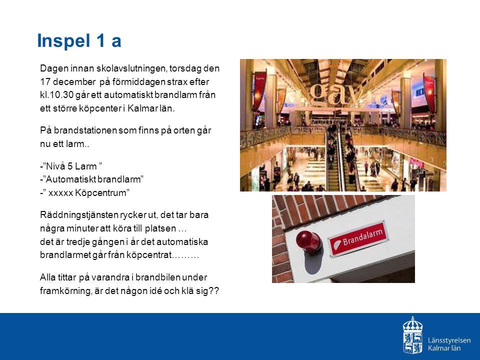 Inspel 1 a Dagen innan skolavslutningen, torsdag den 17 december på förmiddagen strax efter kl.10.30 går ett automatiskt brandlarm från ett större köpcenter i Kalmar län.