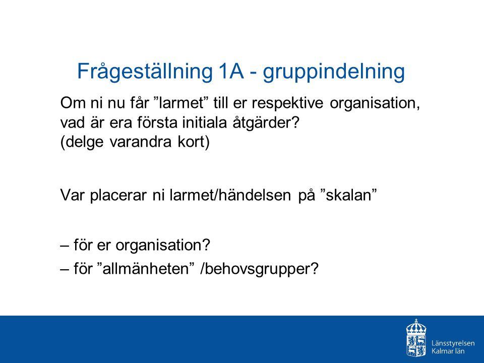 """Frågeställning 1A - gruppindelning Om ni nu får """"larmet"""" till er respektive organisation, vad är era första initiala åtgärder? (delge varandra kort) V"""