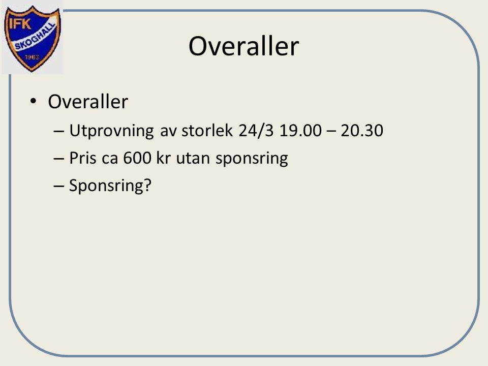 Overaller – Utprovning av storlek 24/3 19.00 – 20.30 – Pris ca 600 kr utan sponsring – Sponsring?