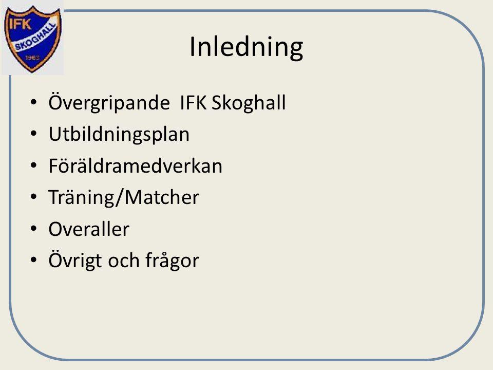 Inledning Övergripande IFK Skoghall Utbildningsplan Föräldramedverkan Träning/Matcher Overaller Övrigt och frågor