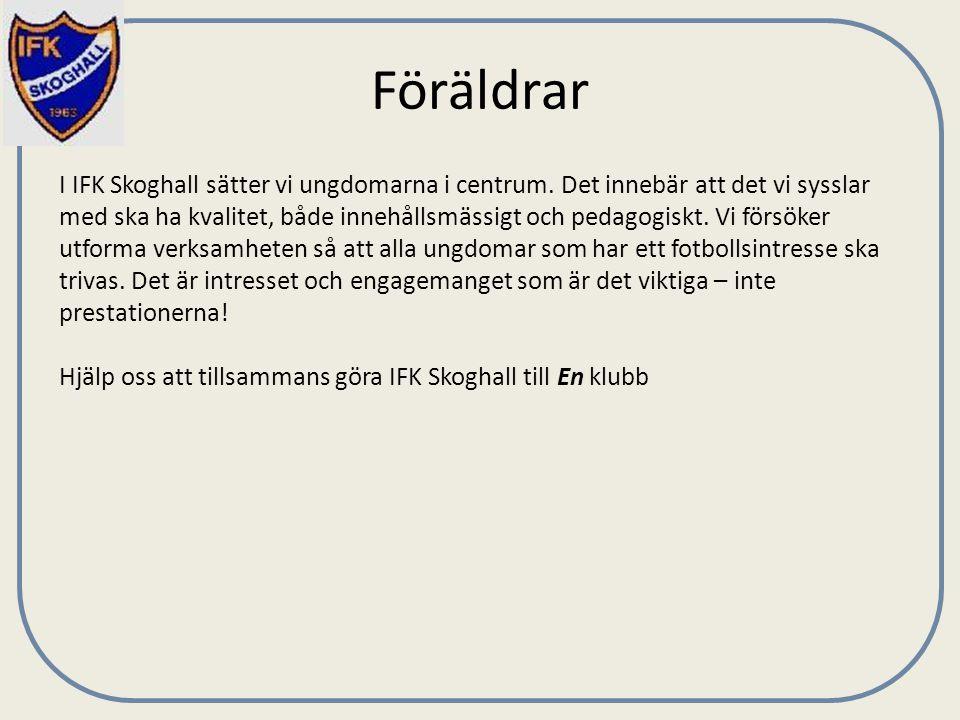Föräldrar I IFK Skoghall sätter vi ungdomarna i centrum. Det innebär att det vi sysslar med ska ha kvalitet, både innehållsmässigt och pedagogiskt. Vi