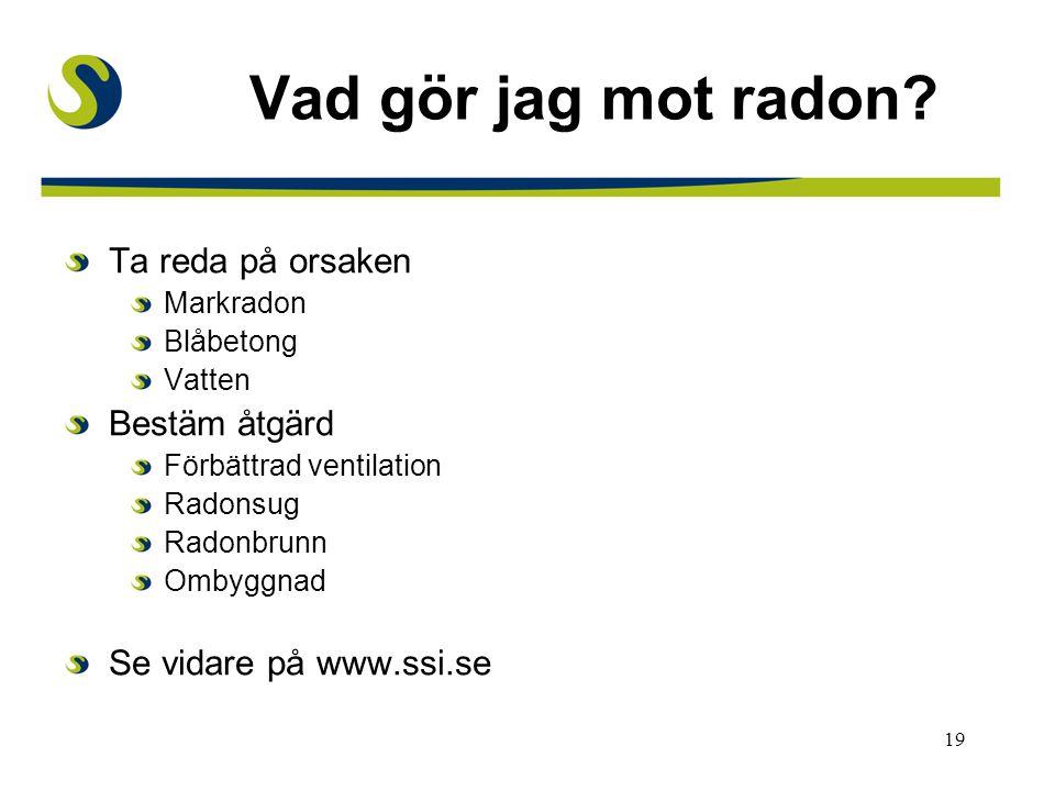 19 Vad gör jag mot radon? Ta reda på orsaken Markradon Blåbetong Vatten Bestäm åtgärd Förbättrad ventilation Radonsug Radonbrunn Ombyggnad Se vidare p