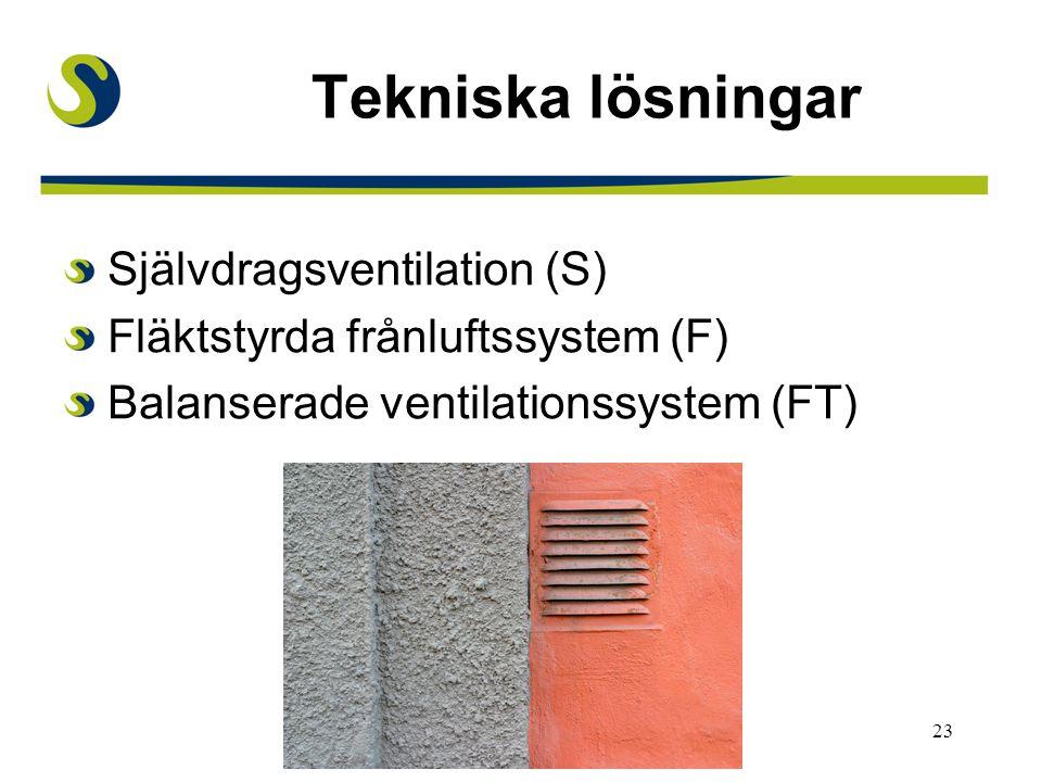 23 Tekniska lösningar Självdragsventilation (S) Fläktstyrda frånluftssystem (F) Balanserade ventilationssystem (FT)