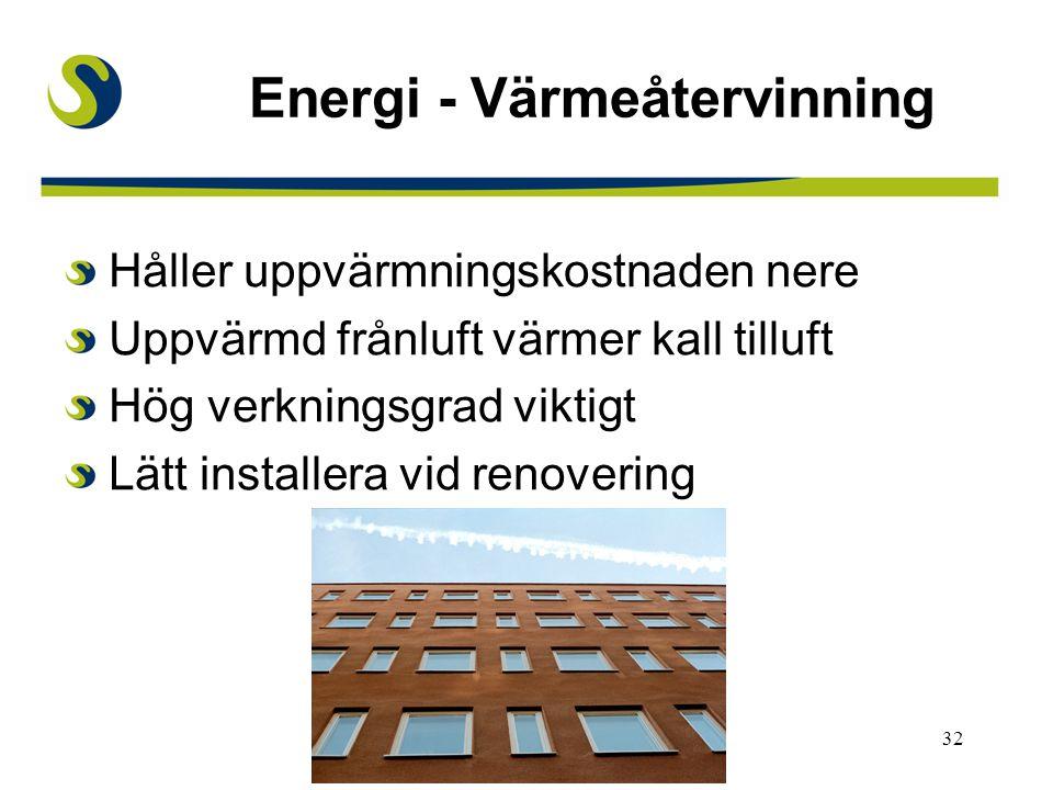 32 Energi - Värmeåtervinning Håller uppvärmningskostnaden nere Uppvärmd frånluft värmer kall tilluft Hög verkningsgrad viktigt Lätt installera vid renovering